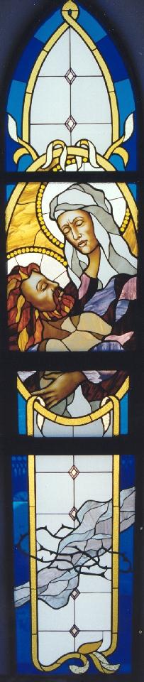 The Pieta window at Most Holy Mother of God Catholic Church in Vladivostok.