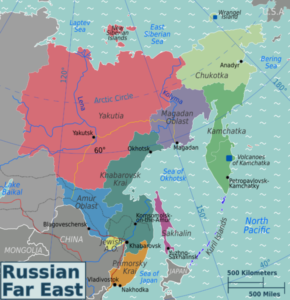 Map showing the different sections of the Russian Far East.  Vladivostok is near the bottom of the map.   Original work by Peter Fitzgerald for WikiTravel.