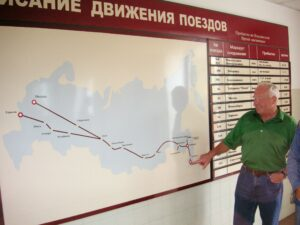 A map showing the Trans-Siberian railroad, the longest railroad in the world.  The gentleman is pointing to Vladivostok, the eastern terminus of the railroad.