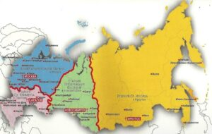 The 4 dioceses in Russia are shown here in blue (centered in Moscow), pink (Saratov), green (Novosibirsk), and gold (Irkutsk).  Our own diocese of Irkutsk covers 3,486,000 square miles.  Only 4 countries in the world are larger than the diocese of Irkutsk.